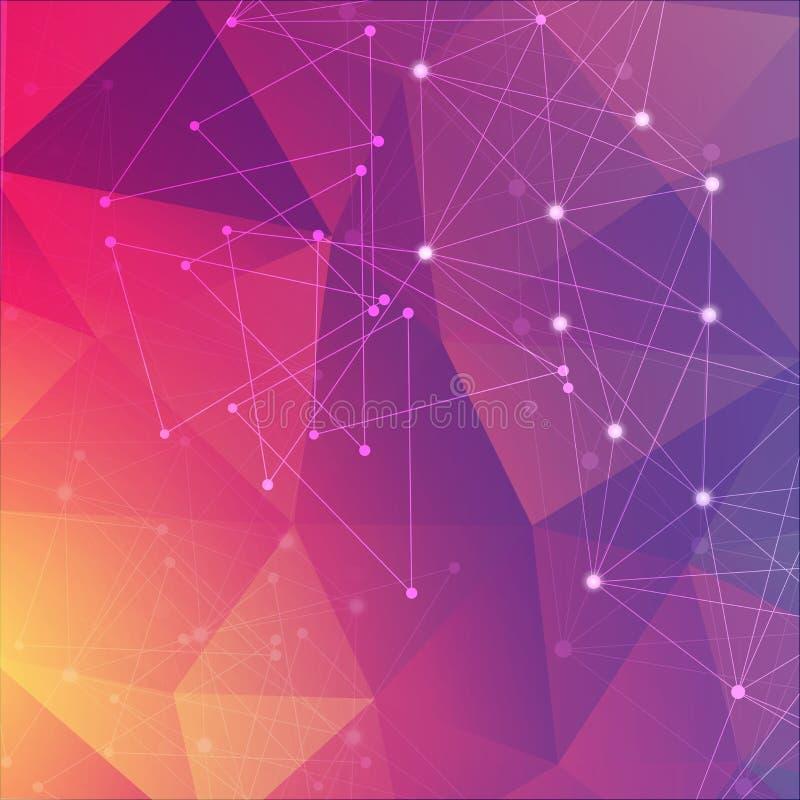 Γεωμετρικό αφηρημένο υπόβαθρο με τη συνδεδεμένα γραμμή και τα σημεία Μόριο και επικοινωνία δομών Επιστημονική έννοια για απεικόνιση αποθεμάτων