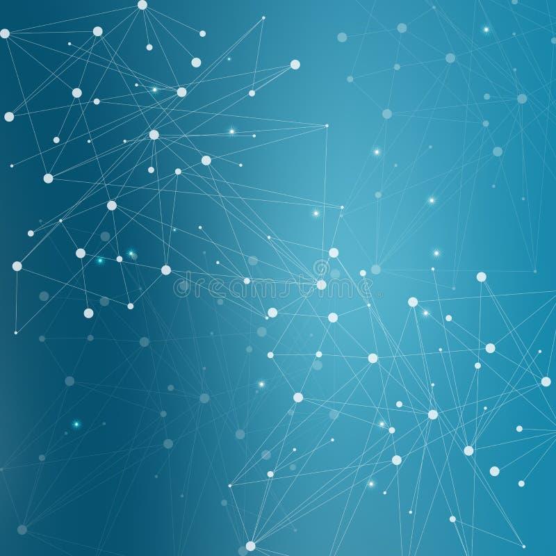 Γεωμετρικό αφηρημένο υπόβαθρο με τη συνδεδεμένα γραμμή και τα σημεία Μόριο και επικοινωνία δομών Επιστημονική έννοια για στοκ εικόνες με δικαίωμα ελεύθερης χρήσης