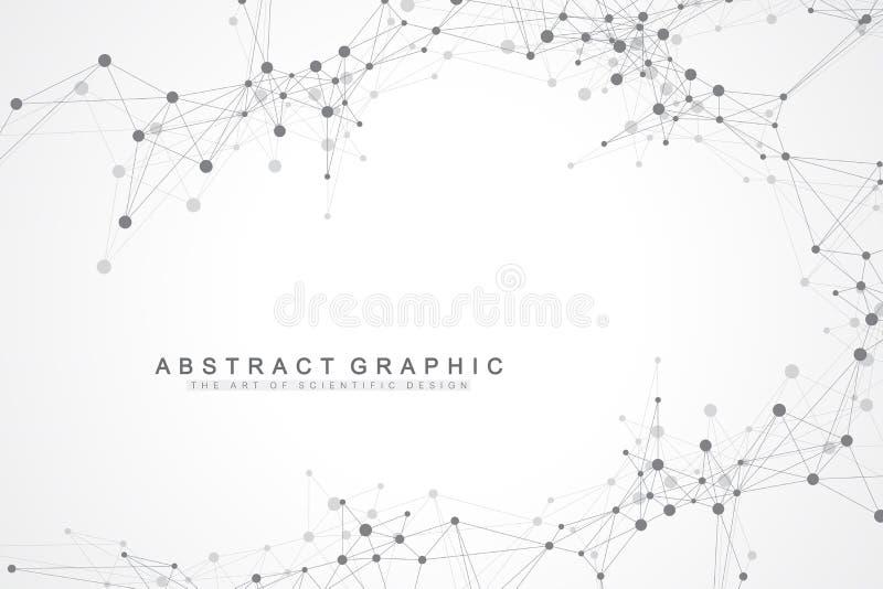 Γεωμετρικό αφηρημένο υπόβαθρο με τη συνδεδεμένα γραμμή και τα σημεία Γραφικό υπόβαθρο για το σχέδιό σας επίσης corel σύρετε το δι διανυσματική απεικόνιση