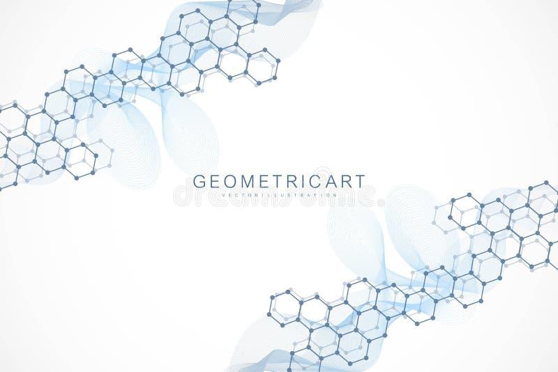 Γεωμετρικό αφηρημένο υπόβαθρο με τη συνδεδεμένα γραμμή και τα σημεία Επιστημονική έννοια για το σχέδιό σας Σφαιρικό cryptocurrenc διανυσματική απεικόνιση
