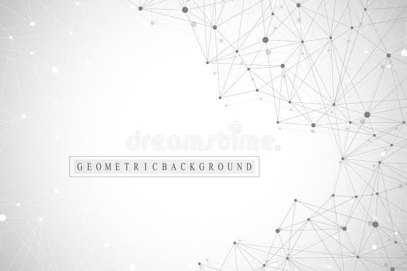 Γεωμετρικό αφηρημένο υπόβαθρο με τη συνδεδεμένα γραμμή και τα σημεία Υπόβαθρο δικτύων και σύνδεσης για την παρουσίασή σας διανυσματική απεικόνιση