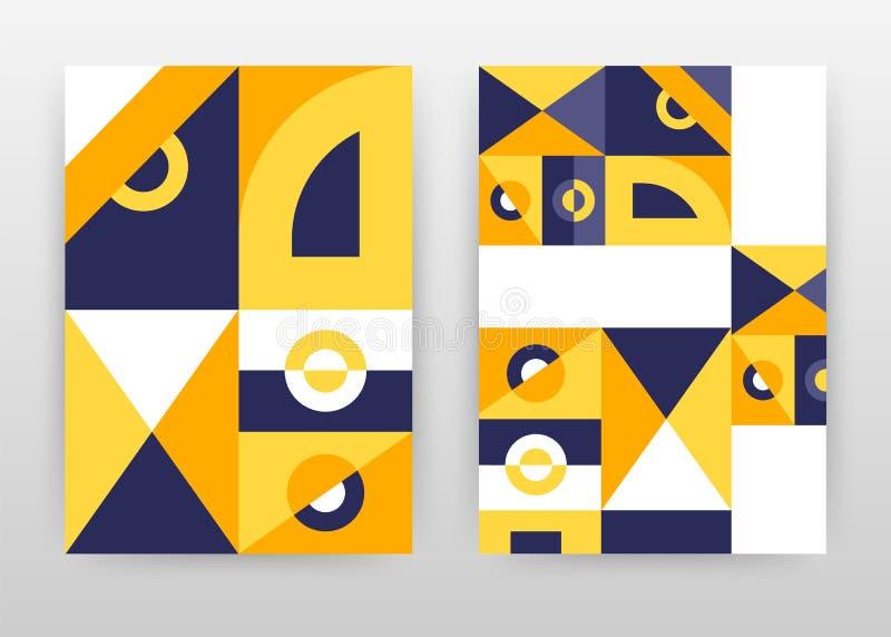 Γεωμετρικό κίτρινο πορφυρό σχέδιο επιχειρησιακού υποβάθρου μορφών για τη ετήσια έκθεση, φυλλάδιο, ιπτάμενο, αφίσα Πορτοκαλιά περί απεικόνιση αποθεμάτων