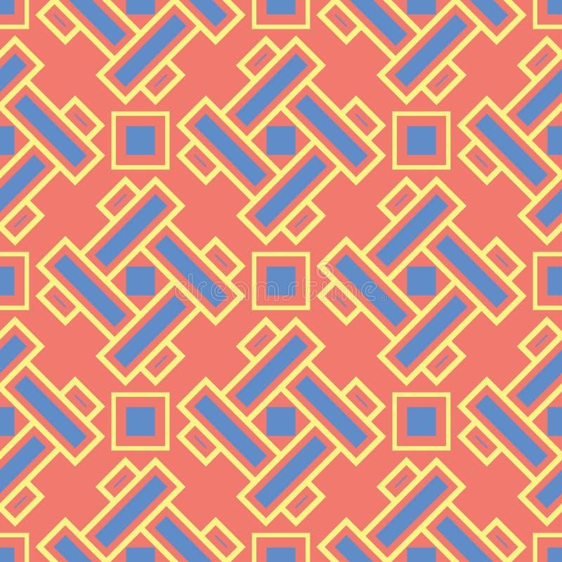Γεωμετρικό κόκκινο πορτοκαλί άνευ ραφής σχέδιο Φωτεινό υπόβαθρο με το μπλε και κίτρινο σχέδιο απεικόνιση αποθεμάτων
