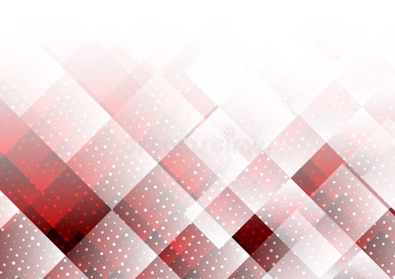 Γεωμετρικό κόκκινο χρώμα στοιχείων με το αφηρημένο διανυσματικό υπόβαθρο σημείων ελεύθερη απεικόνιση δικαιώματος