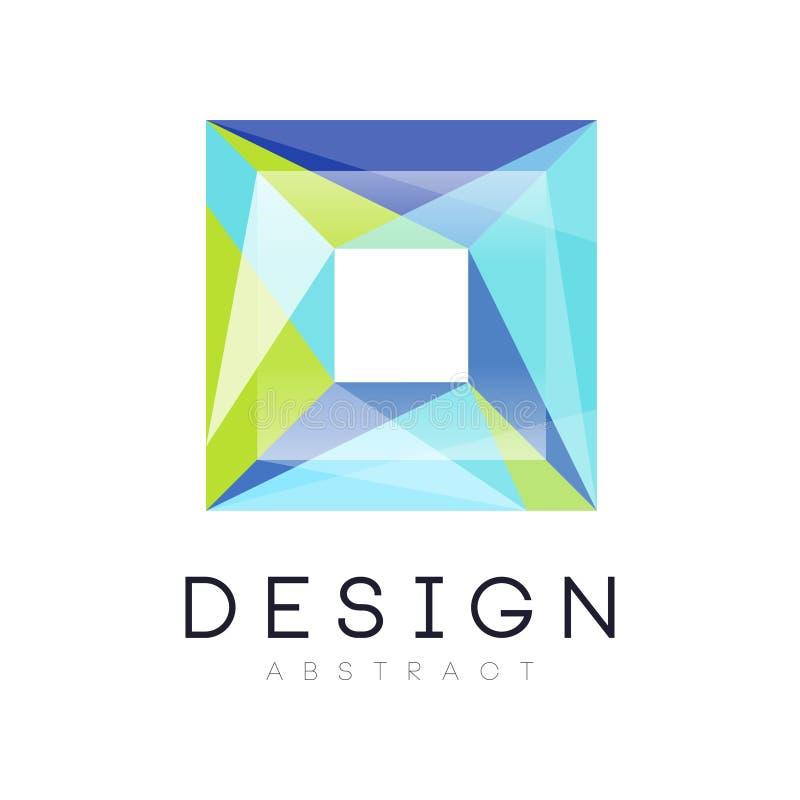 Γεωμετρικό λογότυπο Minimalistic με τετραγωνική μορφή Φωτεινό εικονίδιο στα πράσινα και μπλε χρώματα κλίσης Αφηρημένο διανυσματικ διανυσματική απεικόνιση