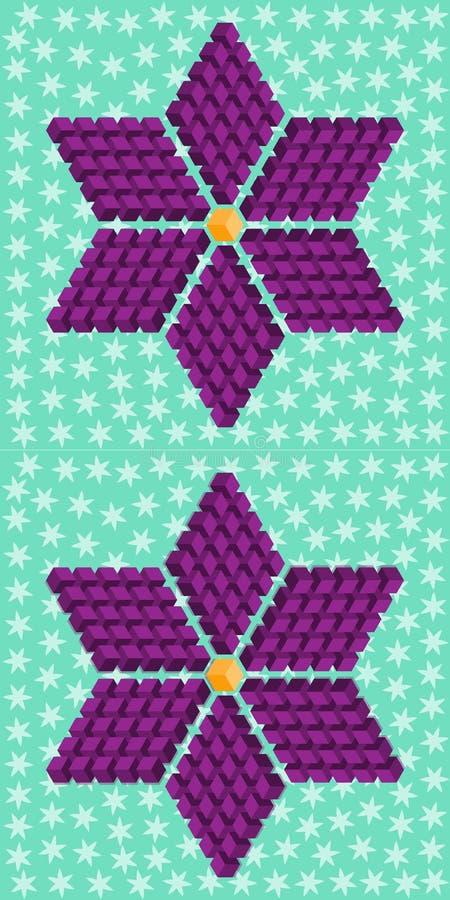 Γεωμετρικό πορφυρό λουλούδι που αποτελείται από τους isometric κύβους ελεύθερη απεικόνιση δικαιώματος