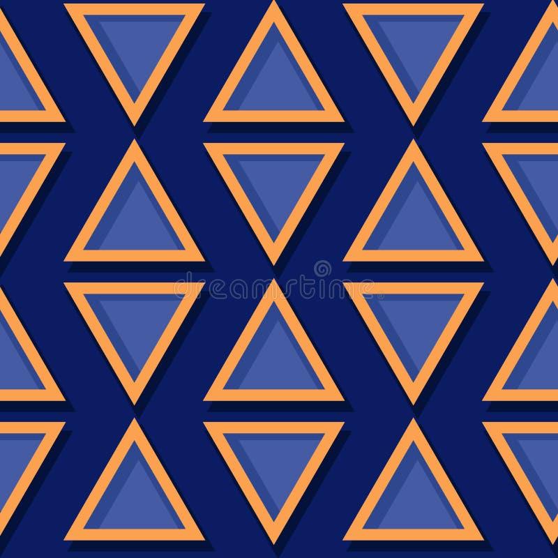 γεωμετρικό πρότυπο άνευ ραφής Βαθιά μπλε και πορτοκαλί τρισδιάστατο σχέδιο ελεύθερη απεικόνιση δικαιώματος