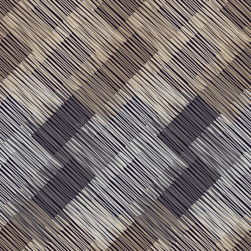 γεωμετρικό πρότυπο άνευ ραφής Καφετί πάτωμα με την ξύλινη σύσταση ασιατικό χαλί Σύσταση κακογραφίας απεικόνιση αποθεμάτων