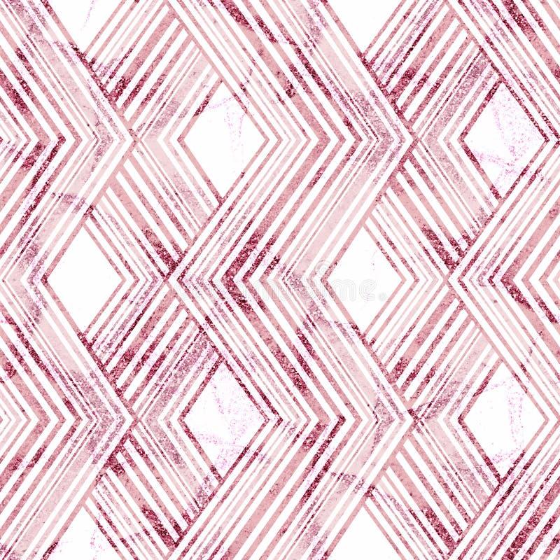 γεωμετρικό πρότυπο άνευ ραφής Ρόδινο τρέκλισμα στο άσπρο υπόβαθρο διανυσματική απεικόνιση