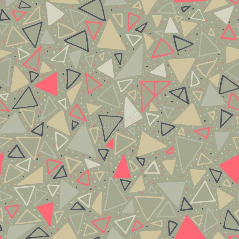 γεωμετρικό πρότυπο Άνευ ραφής υπόβαθρο με τα τρίγωνα και τα σημεία Πόλκα ελεύθερη απεικόνιση δικαιώματος