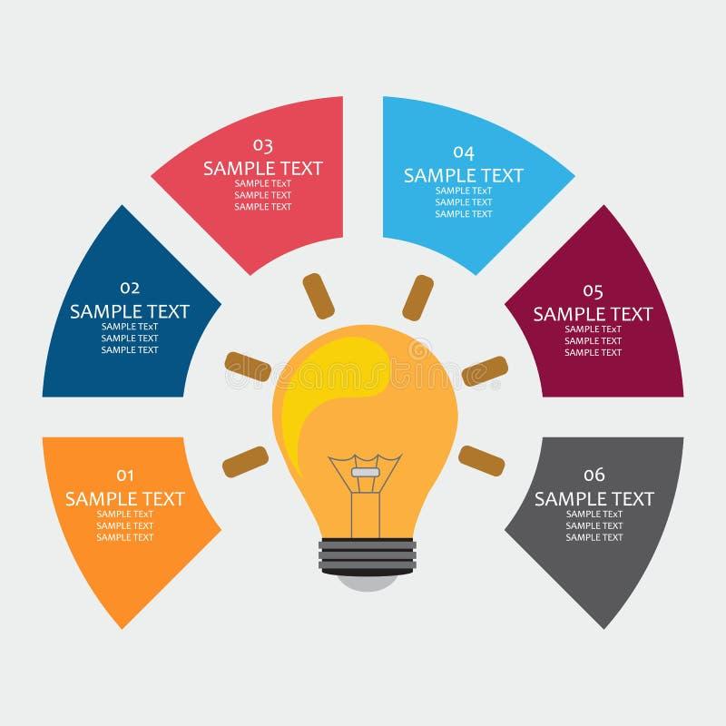 Γεωμετρικό πρότυπο εμβλημάτων Infographic με μια λάμπα φωτός ελεύθερη απεικόνιση δικαιώματος