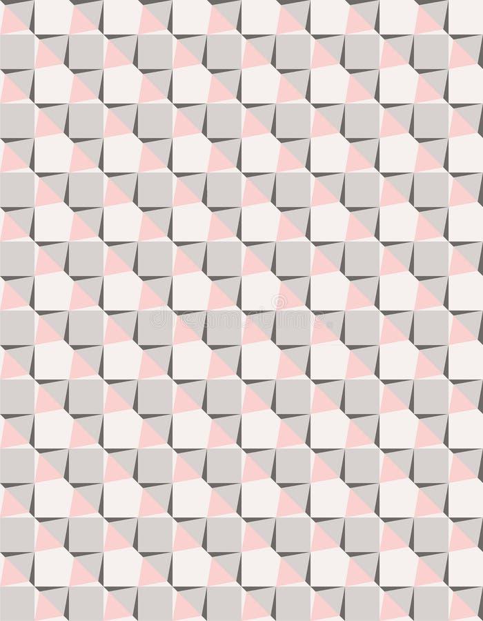 Γεωμετρικό ρόδινο και γκρίζο διανυσματικό άνευ ραφής σχέδιο αστεριών θάλασσας διανυσματική απεικόνιση