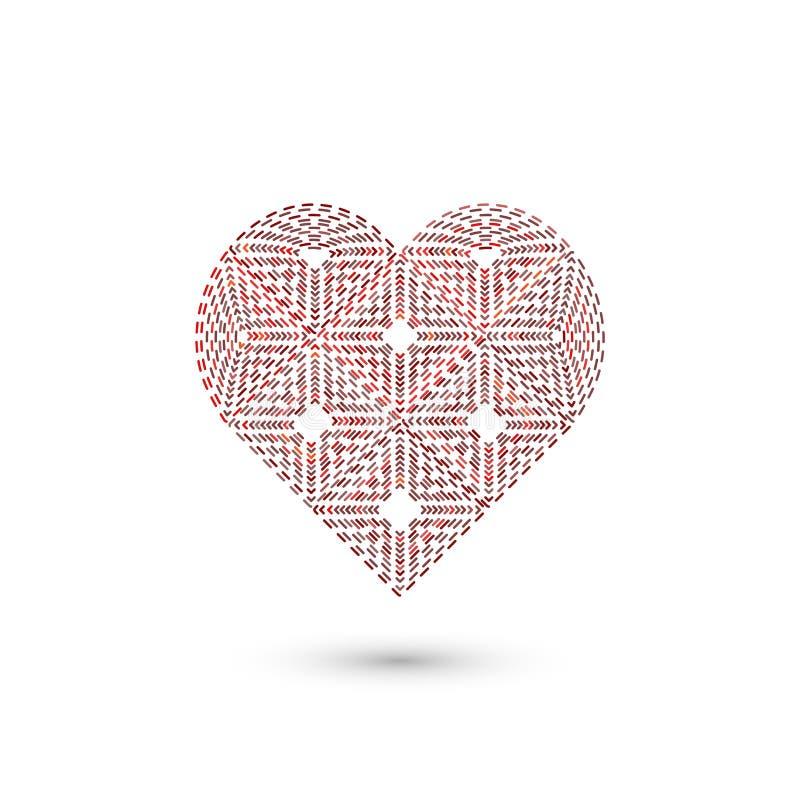 Γεωμετρικό σημάδι καρδιών Γραφικό σχέδιο μόδας επίσης corel σύρετε το διάνυσμα απεικόνισης Σχέδιο ανασκόπησης Οπτική παραίσθηση τ ελεύθερη απεικόνιση δικαιώματος
