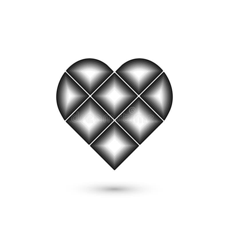 Γεωμετρικό σημάδι καρδιών Γραφικό σχέδιο μόδας επίσης corel σύρετε το διάνυσμα απεικόνισης Σχέδιο ανασκόπησης Οπτική παραίσθηση τ απεικόνιση αποθεμάτων