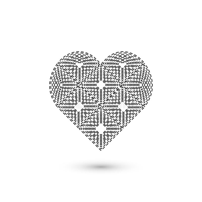 Γεωμετρικό σημάδι καρδιών Γραφικό σχέδιο μόδας επίσης corel σύρετε το διάνυσμα απεικόνισης Σχέδιο ανασκόπησης Οπτική παραίσθηση τ διανυσματική απεικόνιση