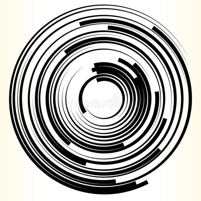 Γεωμετρικό στοιχείο κύκλων Αφηρημένη μονοχρωματική μορφή κύκλων διανυσματική απεικόνιση