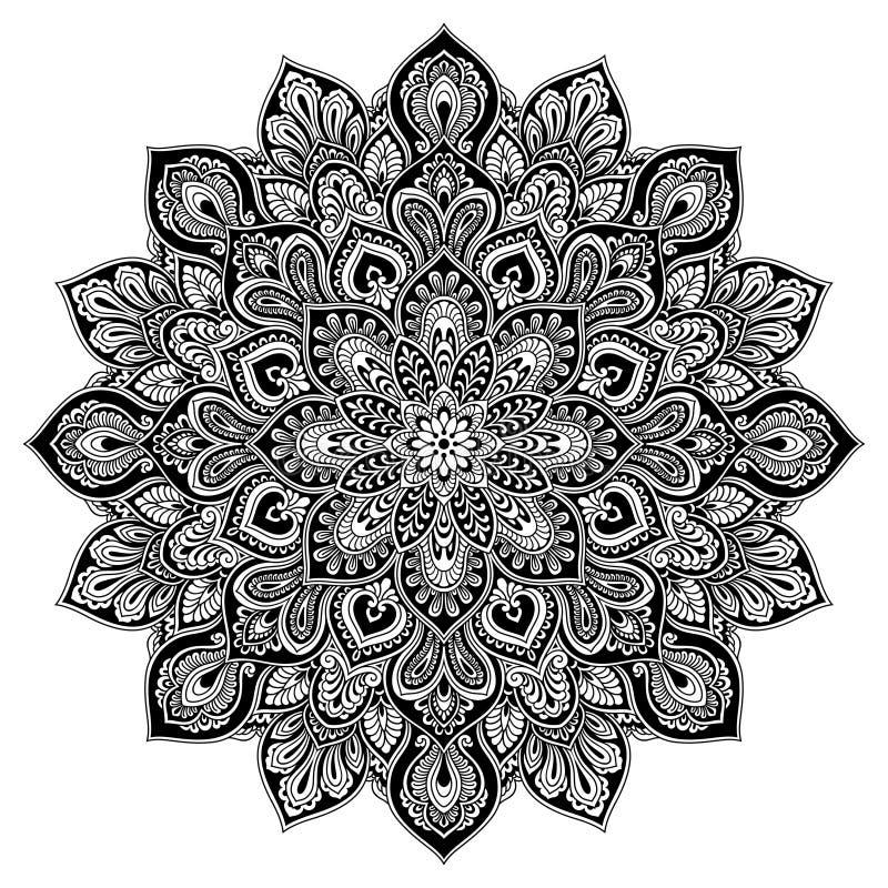 Γεωμετρικό στοιχείο κύκλων Mandala, μαύρο διανυσματική απεικόνιση