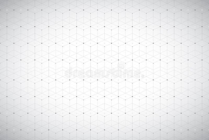 Γεωμετρικό σχέδιο με τη συνδεδεμένα γραμμή και τα σημεία Γκρίζα γραφική συνδετικότητα υποβάθρου Σύγχρονο μοντέρνο polygonal σκηνι διανυσματική απεικόνιση