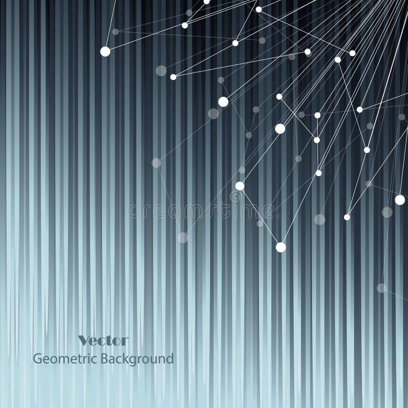 Γεωμετρικό σχέδιο με τις συνδεδεμένα γραμμές και τα σημεία η ανασκόπηση ανθίζει το φρέσκο διάνυσμα γάλακτος φύλλων απεικόνισης ελεύθερη απεικόνιση δικαιώματος