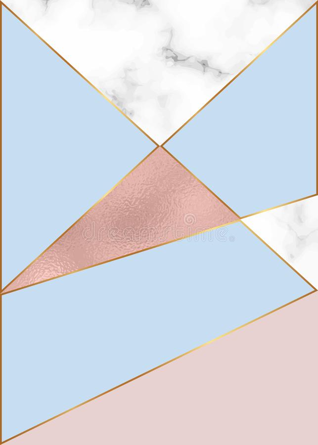 Γεωμετρικό σχέδιο μόδας με το ροδαλό χρυσό φύλλο αλουμινίου και τη μαρμάρινη σύσταση Σύγχρονο υπόβαθρο για την κάρτα, εορτασμός,  απεικόνιση αποθεμάτων