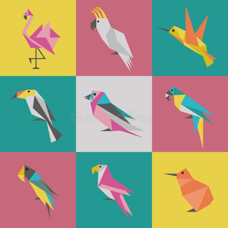 Γεωμετρικό σύνολο λογότυπων Origami πουλιών απεικόνιση αποθεμάτων
