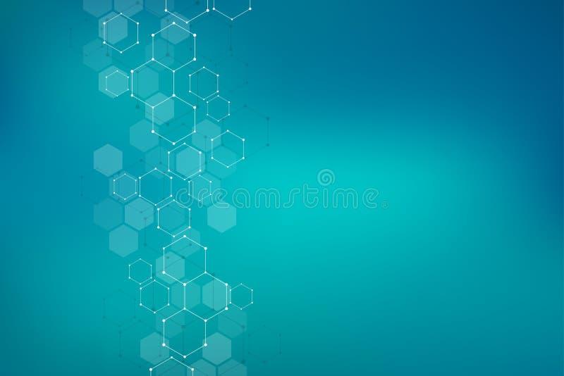 Γεωμετρικό υπόβαθρο από hexagons Αφηρημένη μοριακή δομή και χημικά στοιχεία Ιατρικός, επιστήμη και τεχνολογία ελεύθερη απεικόνιση δικαιώματος