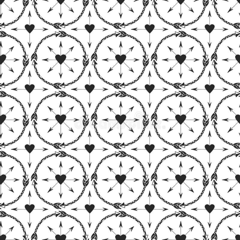 Γεωμετρικό υπόβαθρο με τη διακόσμηση βελών Σχέδιο τυπωμένων υλών στο εθνικό ύφος Φυλετικό άνευ ραφής διανυσματικό σχέδιο βελών απεικόνιση αποθεμάτων
