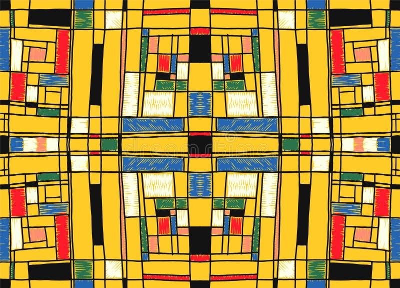 Γεωμετρικό υπόβαθρο στο ύφος πλέγματος Mondrian Λαϊκό σχέδιο τέχνης Άνευ ραφής διακόσμηση με τα αφηρημένα τετράγωνα απεικόνιση αποθεμάτων