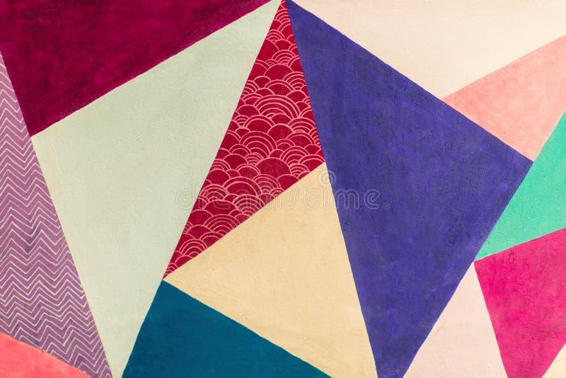 Γεωμετρικό υπόβαθρο του τοίχου με τους φωτεινούς τόνους λαϊκό ύφος τέχνης στοκ φωτογραφία με δικαίωμα ελεύθερης χρήσης