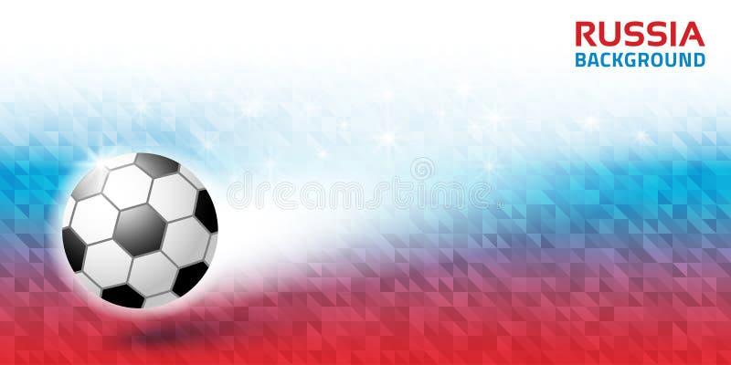 Γεωμετρικό φωτεινό αφηρημένο οριζόντιο υπόβαθρο Ρωσία 2018 χρώματα σημαιών Εικονίδιο σφαιρών ποδοσφαίρου επίσης corel σύρετε το δ διανυσματική απεικόνιση