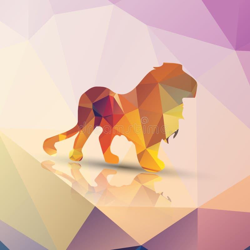 Γεωμετρικό polygonal λιοντάρι, σχέδιο σχεδίων διανυσματική απεικόνιση