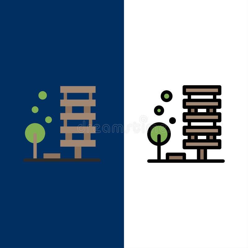 Γεωργία, αρχιτεκτονική, κτήριο, πόλη, εικονίδια περιβάλλοντος Επίπεδος και γραμμή γέμισε το καθορισμένο διανυσματικό μπλε υπόβαθρ απεικόνιση αποθεμάτων