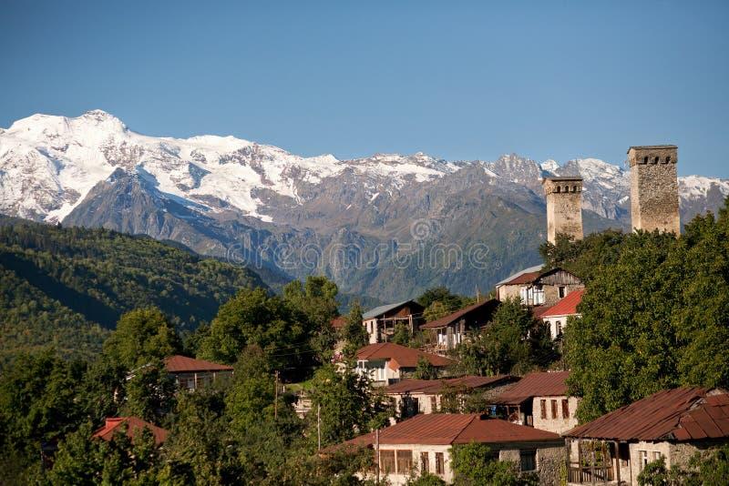 Γεωργία, περιοχή Svaneti, ορεινό χωριό Mestia στοκ φωτογραφία με δικαίωμα ελεύθερης χρήσης