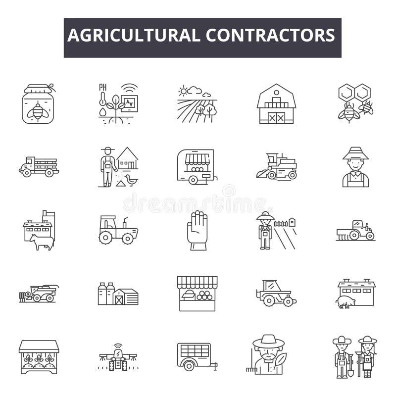 Γεωργικά εικονίδια γραμμών αναδόχων Σημάδια κτυπήματος Editable Εικονίδια έννοιας: ανάδοχος, αγρότης, βιομηχανία, γεωργική απεικόνιση αποθεμάτων