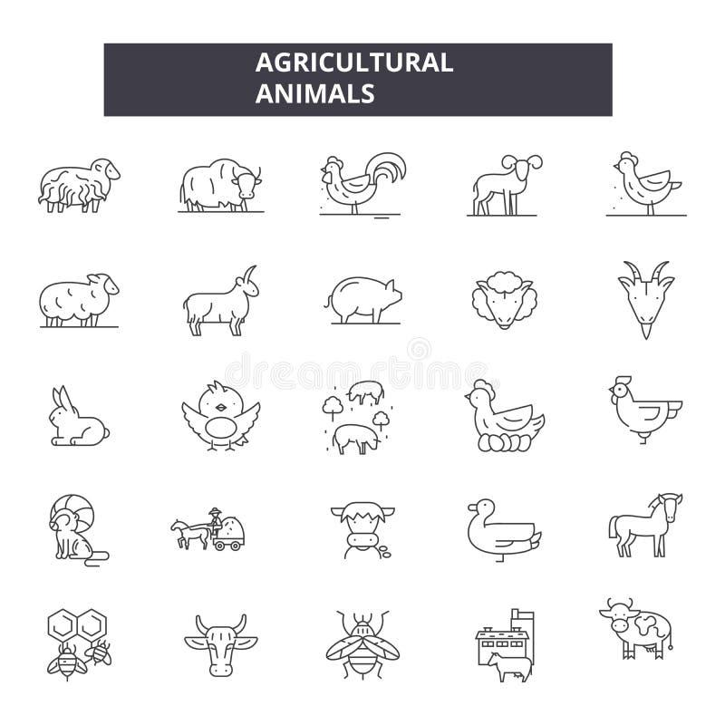 Γεωργικά εικονίδια γραμμών ζώων Σημάδια κτυπήματος Editable Εικονίδια έννοιας: γεωργία, fram, ζωικό κεφάλαιο, κατοικίδια ζώα ελεύθερη απεικόνιση δικαιώματος