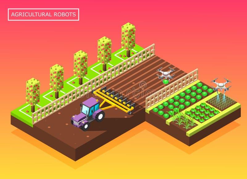 Γεωργική Isometric σύνθεση ρομπότ ελεύθερη απεικόνιση δικαιώματος