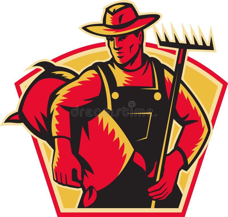 γεωργικός εργαζόμενος σάκων τσουγκρανών αγροτών ελεύθερη απεικόνιση δικαιώματος