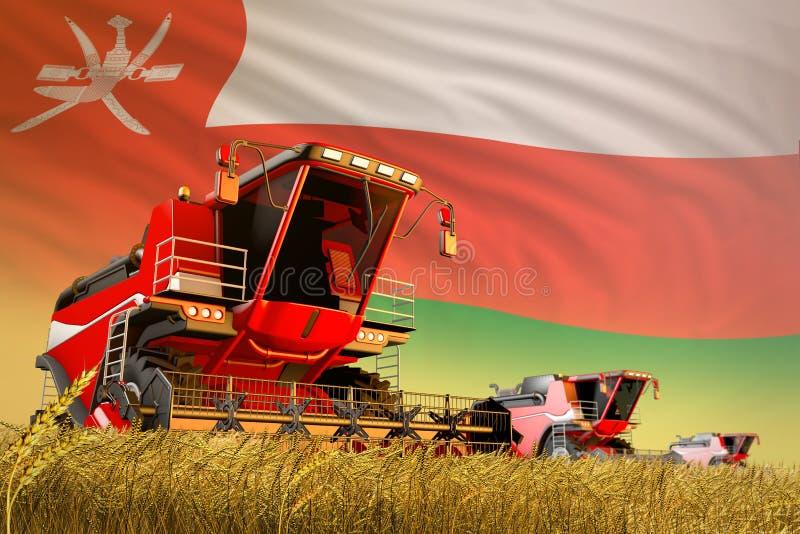 Γεωργικός συνδυάστε τη θεριστική μηχανή που λειτουργεί στον αγροτικό τομέα με το υπόβαθρο σημαιών του Ομάν, έννοια παραγωγής προϊ απεικόνιση αποθεμάτων