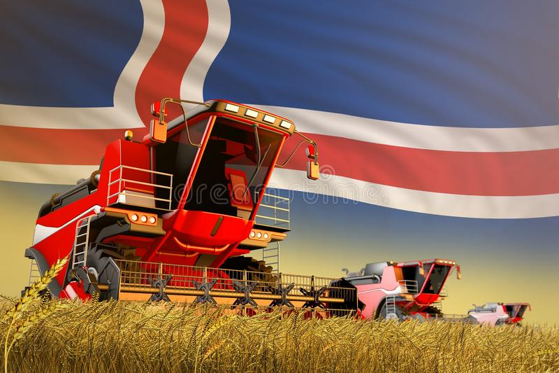 Γεωργικός συνδυάστε τη θεριστική μηχανή που λειτουργεί στον τομέα σιταριού με το υπόβαθρο σημαιών της Ισλανδίας, έννοια παραγωγής ελεύθερη απεικόνιση δικαιώματος