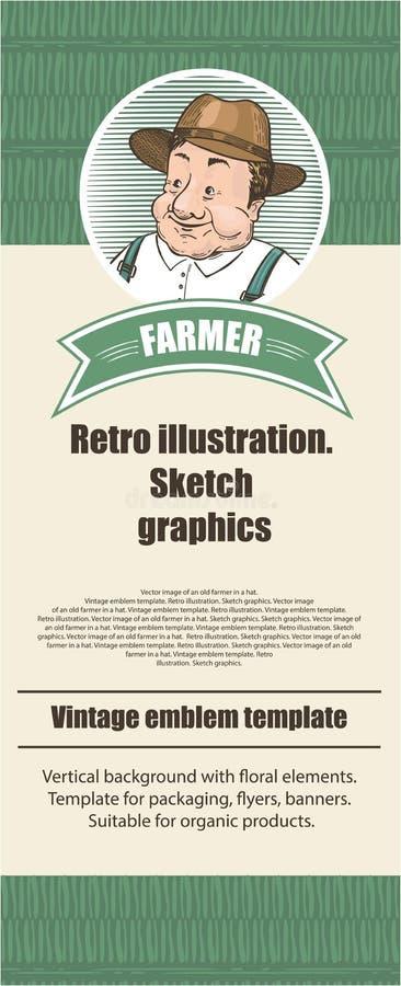 Γεωργικό πρότυπο Εκλεκτής ποιότητας απεικόνιση στο ύφος σκίτσων απεικόνιση αποθεμάτων