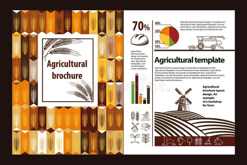 Γεωργικό σχέδιο σχεδιαγράμματος φυλλάδιων Ένα παράδειγμα ενός σκηνικού για το αγρόκτημα Γεωργικός infographic, σύνολο λογότυπων απεικόνιση αποθεμάτων