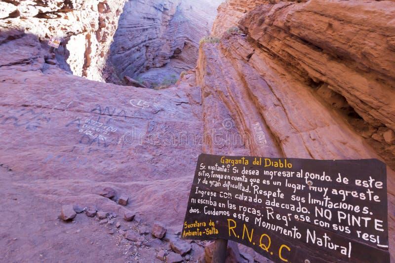 Γεωλογικός σχηματισμός βράχου Garganta del diablo, Αργεντινή στοκ φωτογραφία με δικαίωμα ελεύθερης χρήσης