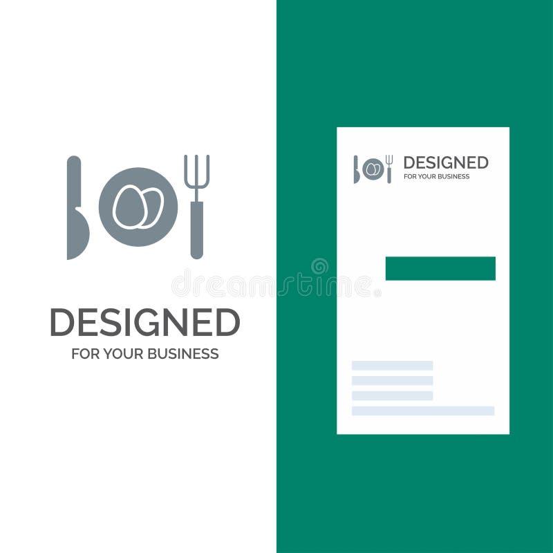Γεύμα, αυγό, γκρίζο σχέδιο λογότυπων Πάσχας και πρότυπο επαγγελματικών καρτών διανυσματική απεικόνιση