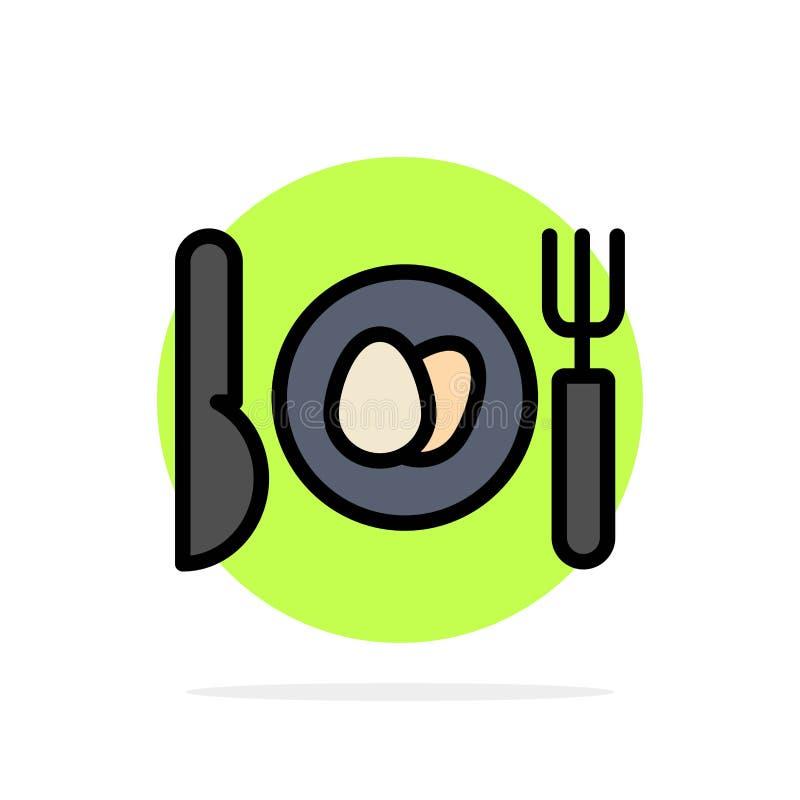 Γεύμα, αυγό, Πάσχας αφηρημένο κύκλων εικονίδιο χρώματος υποβάθρου επίπεδο διανυσματική απεικόνιση