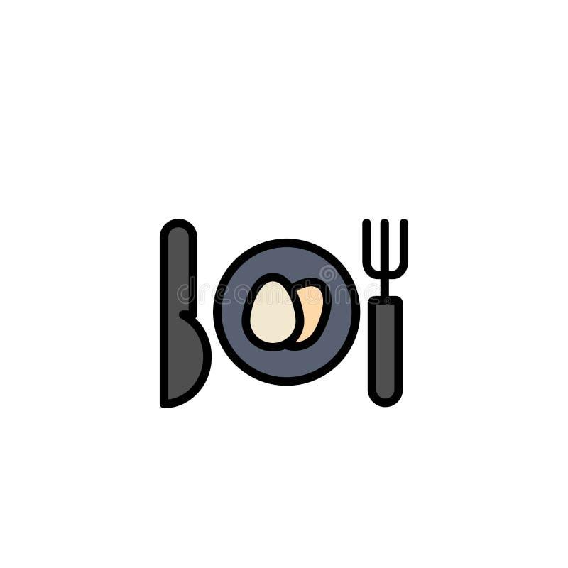 Γεύμα, αυγό, πρότυπο επιχειρησιακών λογότυπων Πάσχας Επίπεδο χρώμα απεικόνιση αποθεμάτων