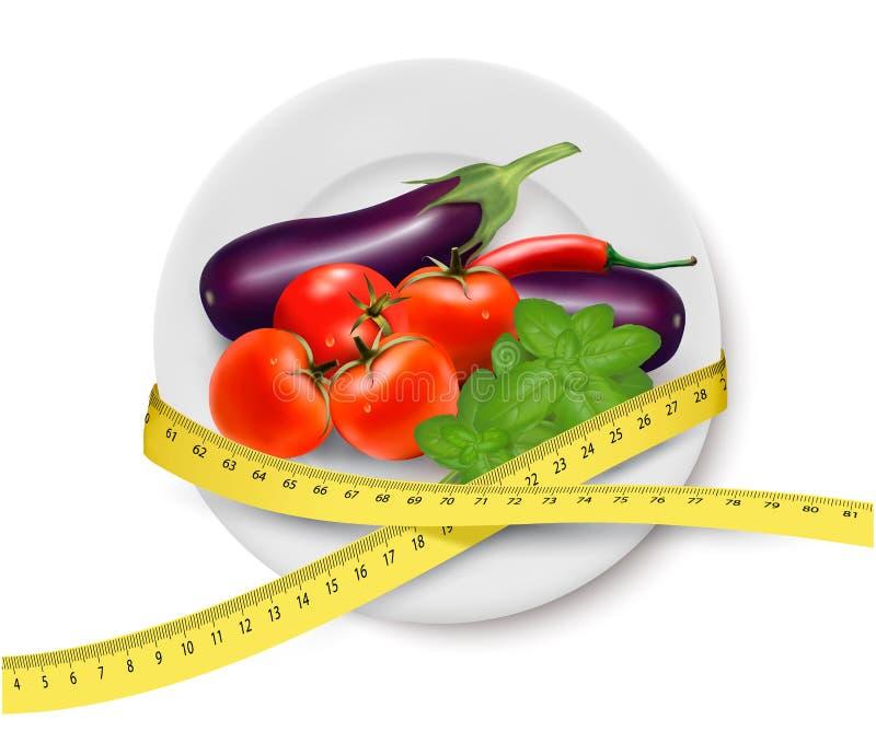 Γεύμα διατροφής. Λαχανικά σε ένα πιάτο με τη μέτρηση του TA διανυσματική απεικόνιση