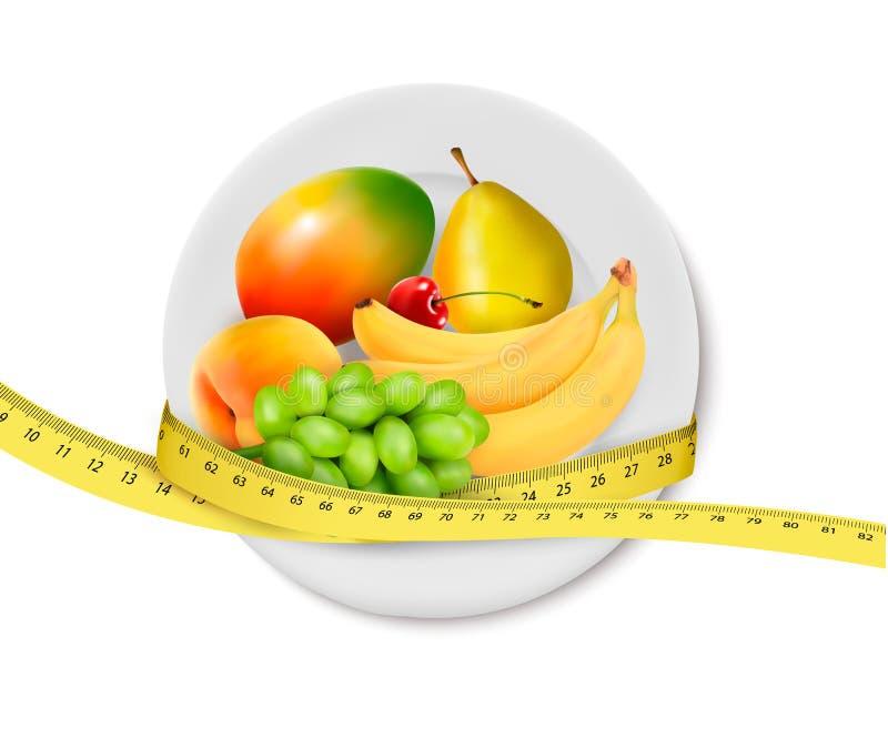 Γεύμα διατροφής. Φρούτα σε ένα πιάτο με τη μέτρηση της ταινίας. διανυσματική απεικόνιση