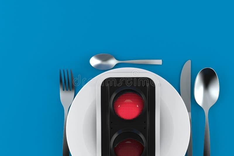 Γεύμα με τον κόκκινο φωτεινό σηματοδότη διανυσματική απεικόνιση