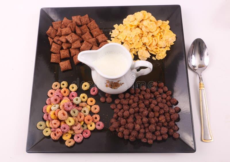 γεύμα προγευμάτων - γάλα και δημητριακά στοκ φωτογραφία