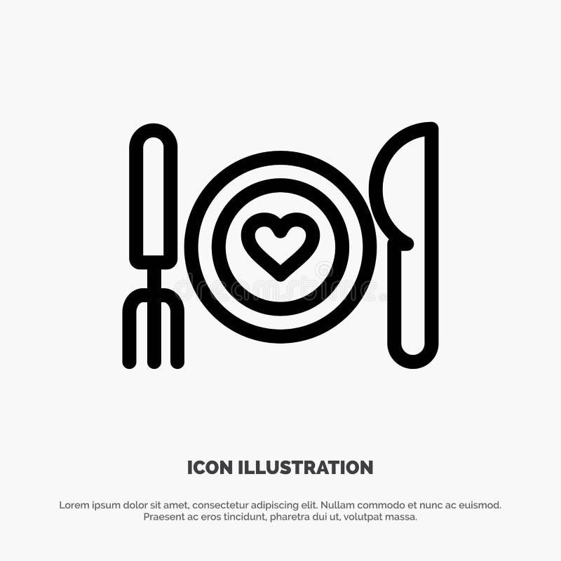Γεύμα, ρομαντικό, τρόφιμα, ημερομηνία, διάνυσμα εικονιδίων γραμμών ζεύγους ελεύθερη απεικόνιση δικαιώματος